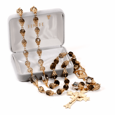 HMH Religious Mary Brown Topaz Crystal Tear Drop Catholic Prayer Rosary