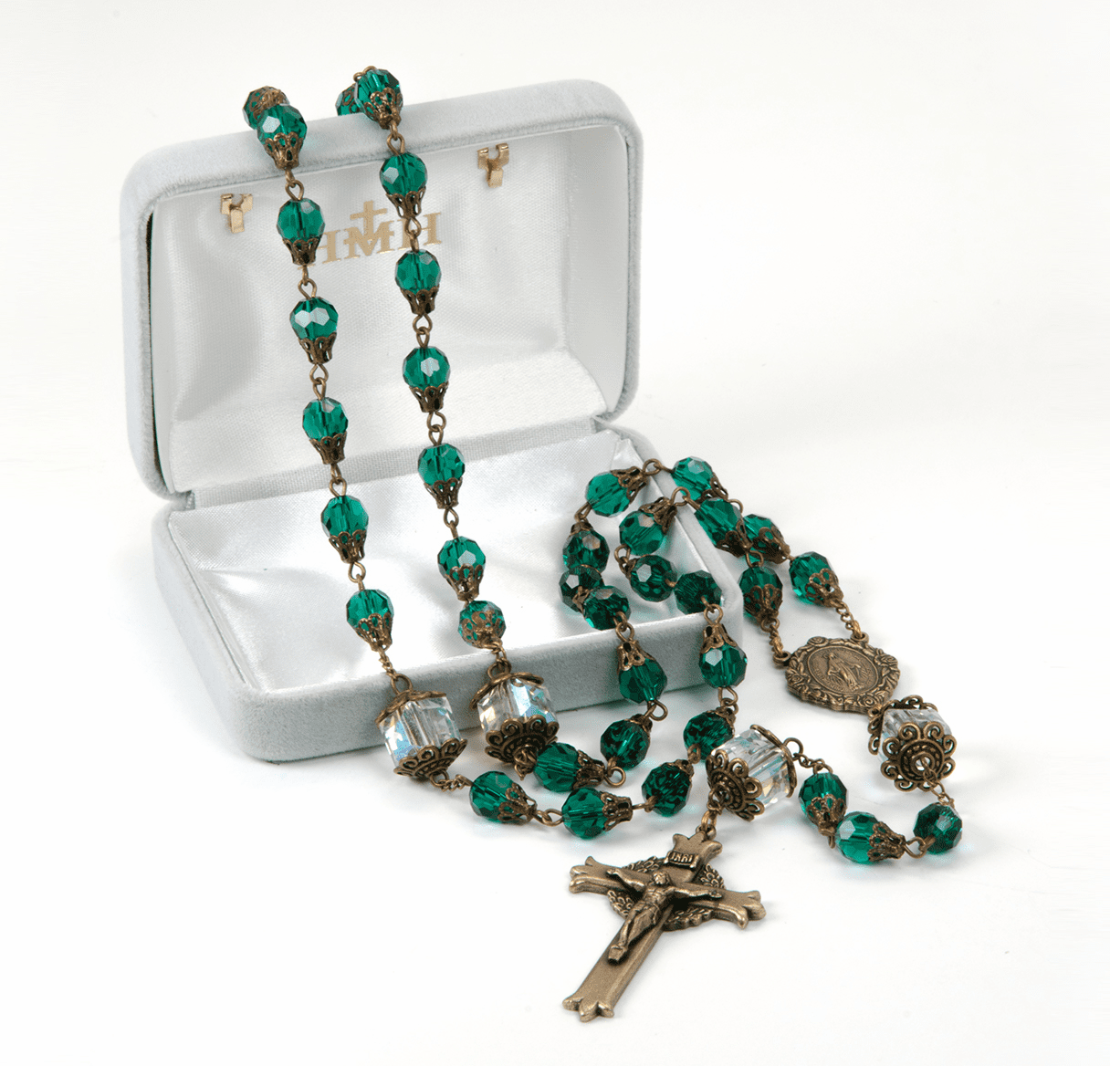 HMH Religious Mary Emerald Crystal Tear Drop Catholic Prayer Rosary
