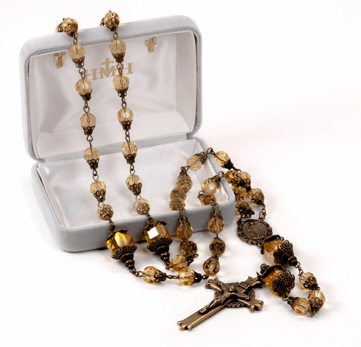 HMH Religious Mary Yellow Crystal Tear Drop Catholic Prayer Rosary