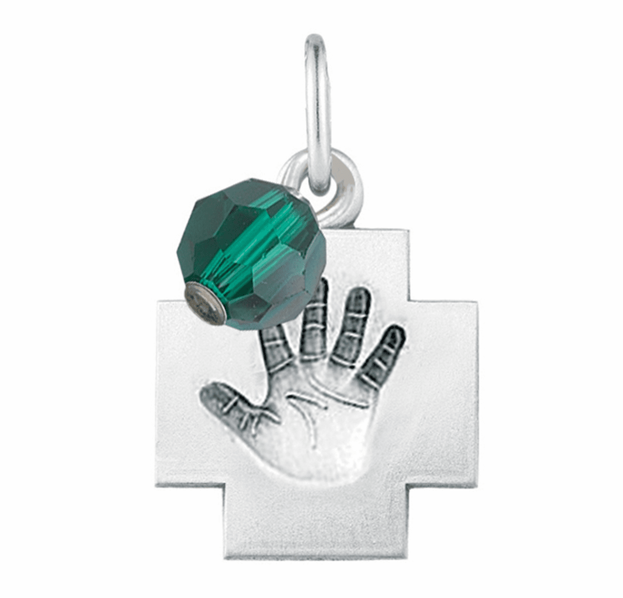 HMH Religious May Emerald Baby Hand Print Necklace