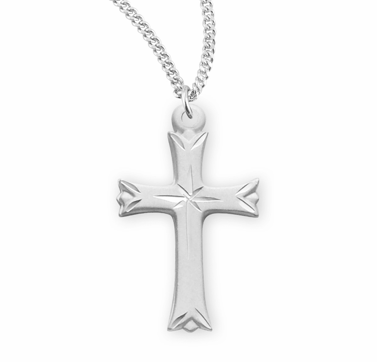 HMH Religious Medium Etched Cross w/Star with Chain