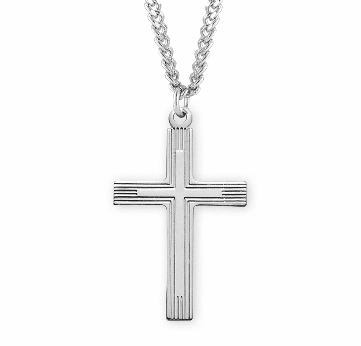 HMH Religious Medium Fancy Sterling Silver Double Cross Necklace