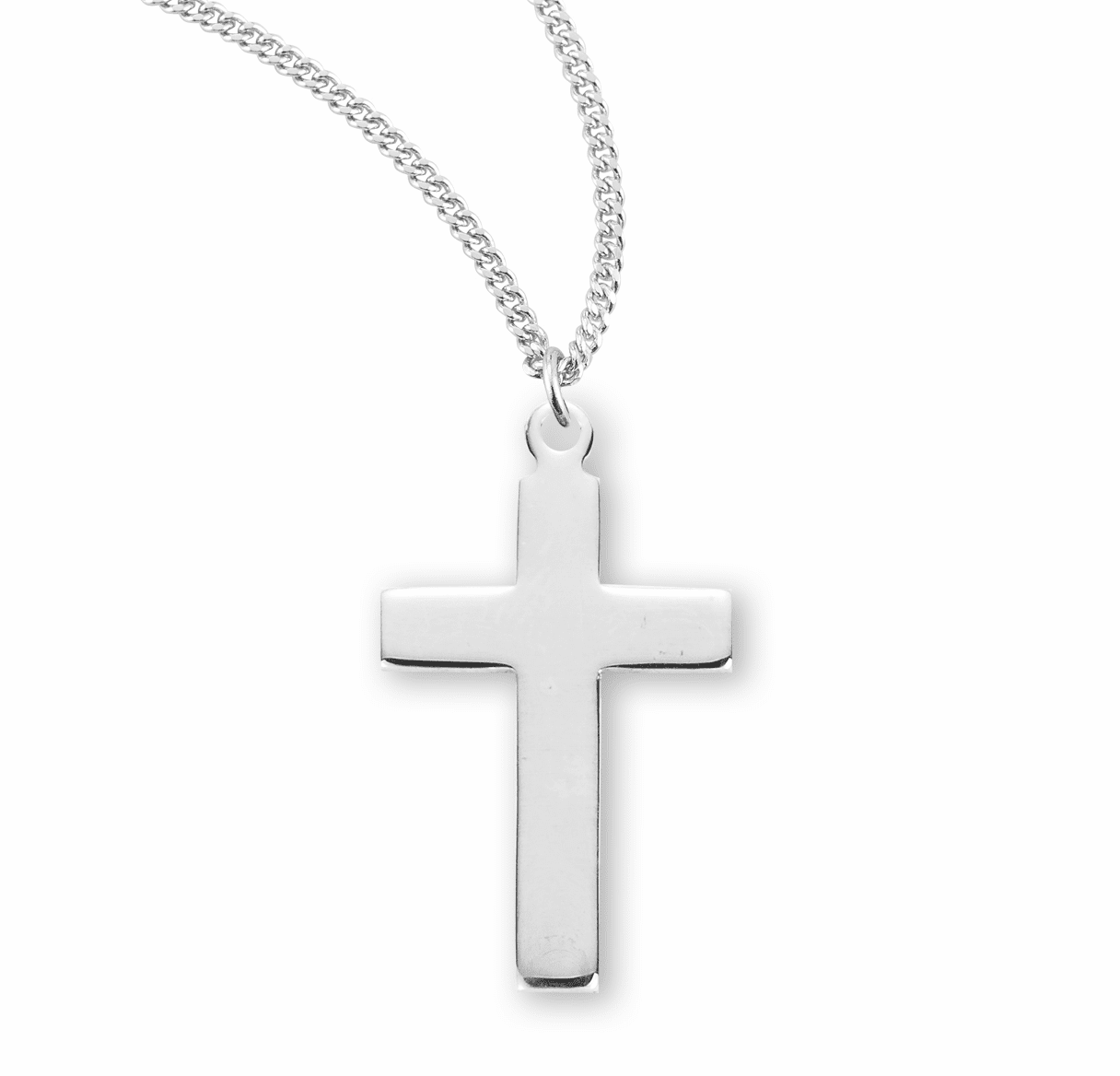HMH Religious Medium Plain High Polished Sterling Silver Cross Necklace