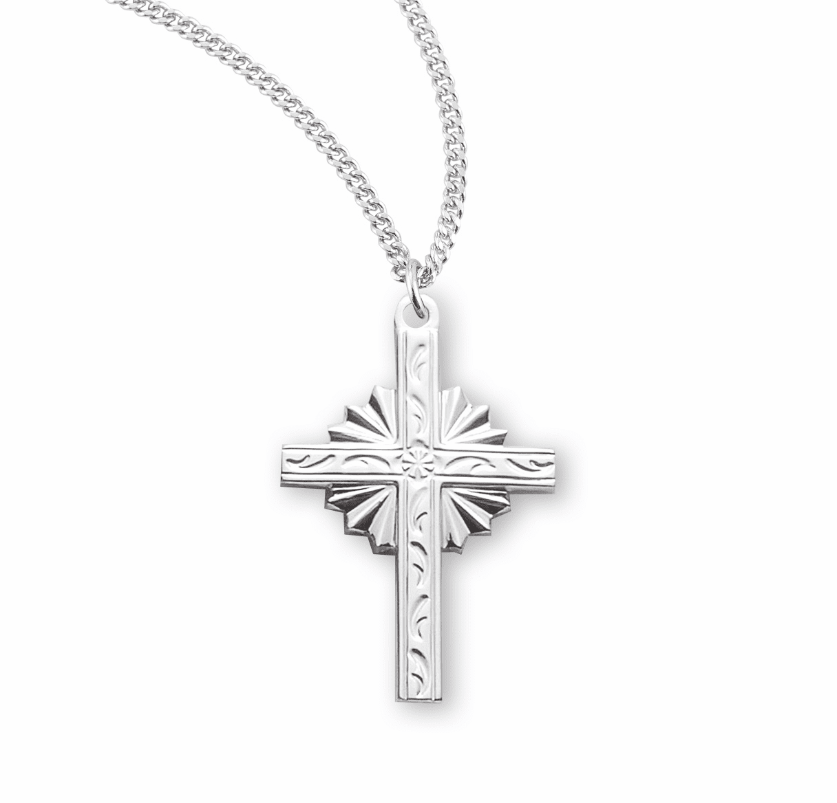HMH Religious Medium Radiant Fancy Sterling Silver Cross Necklace