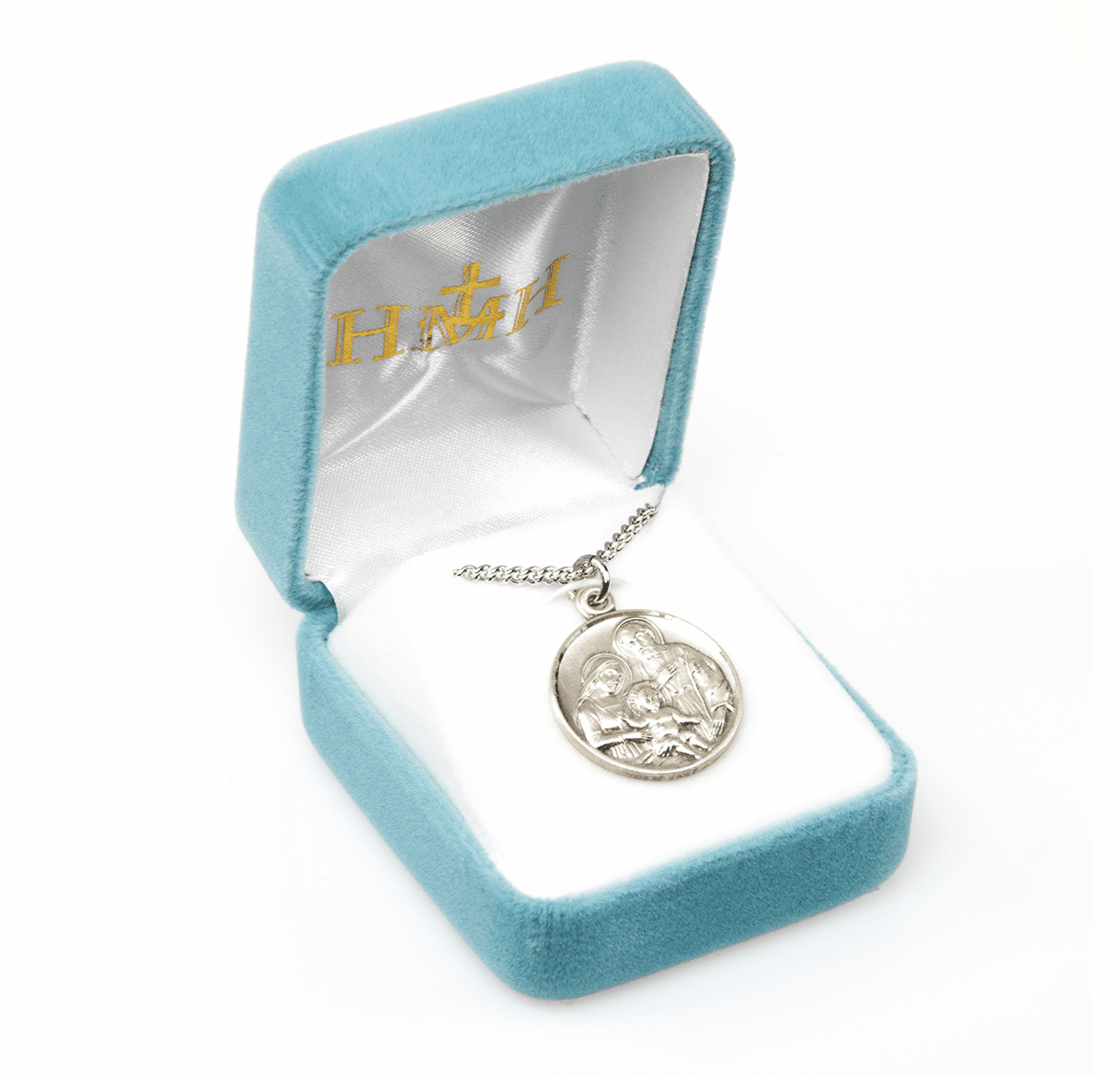 """HMH Religious Medium Round Holy Family Medal /20"""" Chain Necklace"""