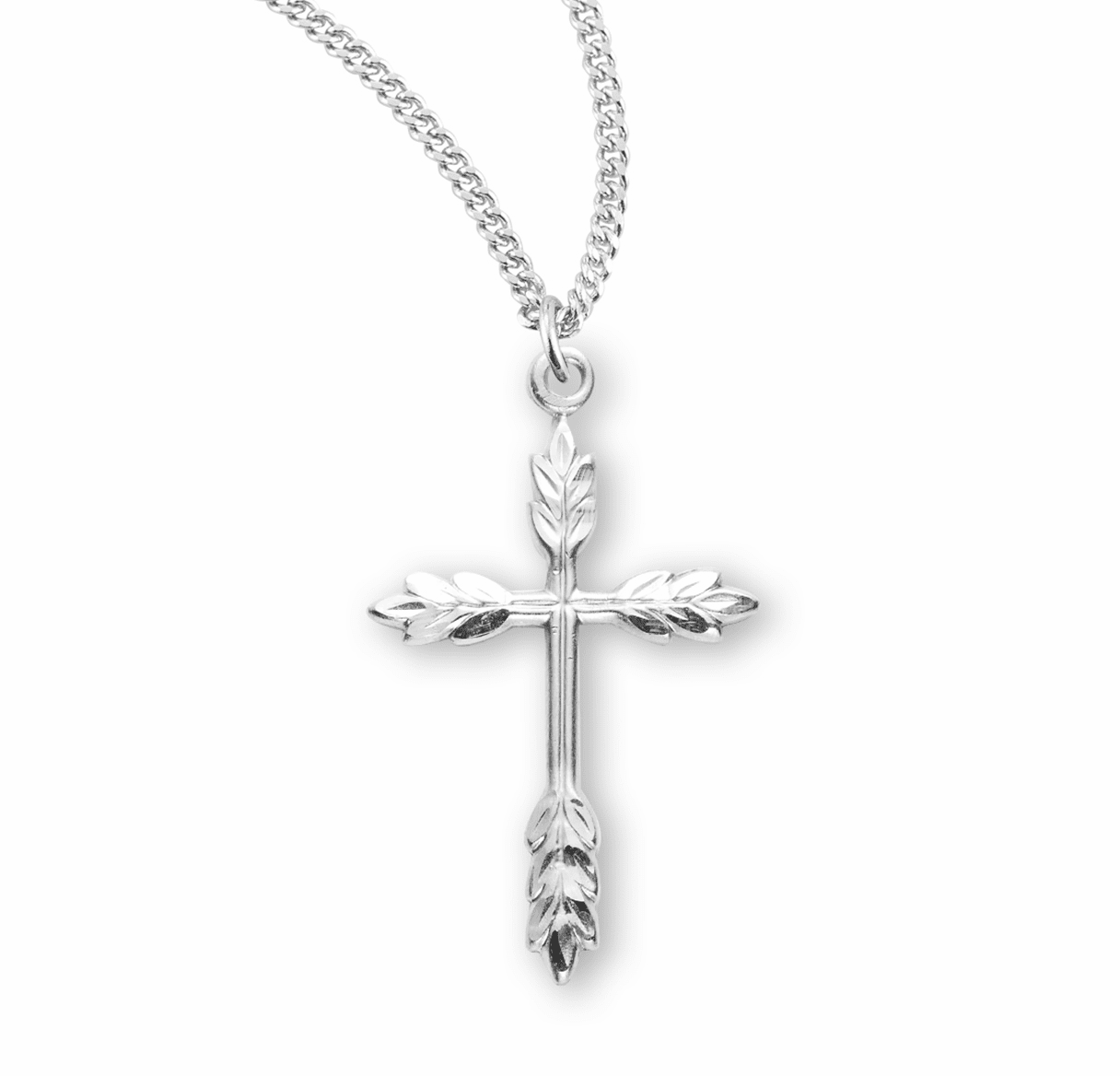HMH Religious Medium Wheat Sterling Silver Cross Necklace