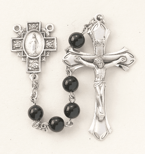 HMH Religious Miraculous Cross Center Black Onyx Sterling Silver Catholic Rosary