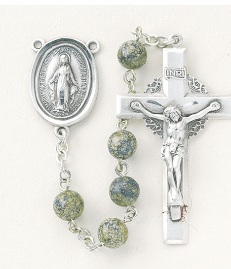 HMH Religious Miraculous Medal 6mm Green Side Stone Sterling Silver Rosary