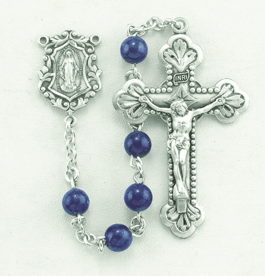 HMH Religious Miraculous Medal Blue Lapis Gemstone Sterling Silver Rosary