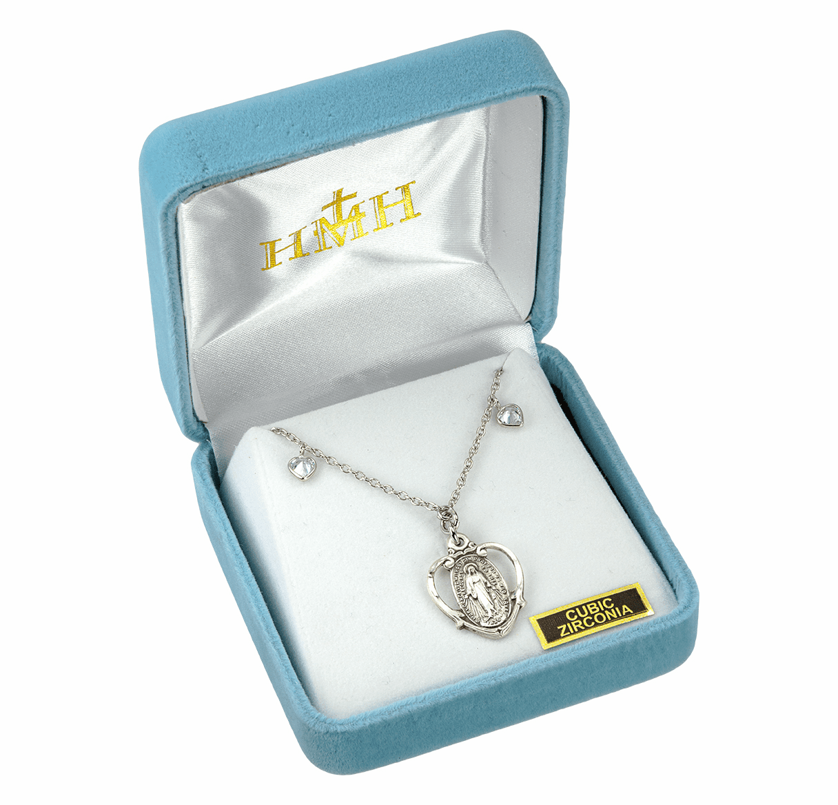 HMH Religious Miraculous Medal Pierced Heart Sterling Silver Beaded Pendant Necklace