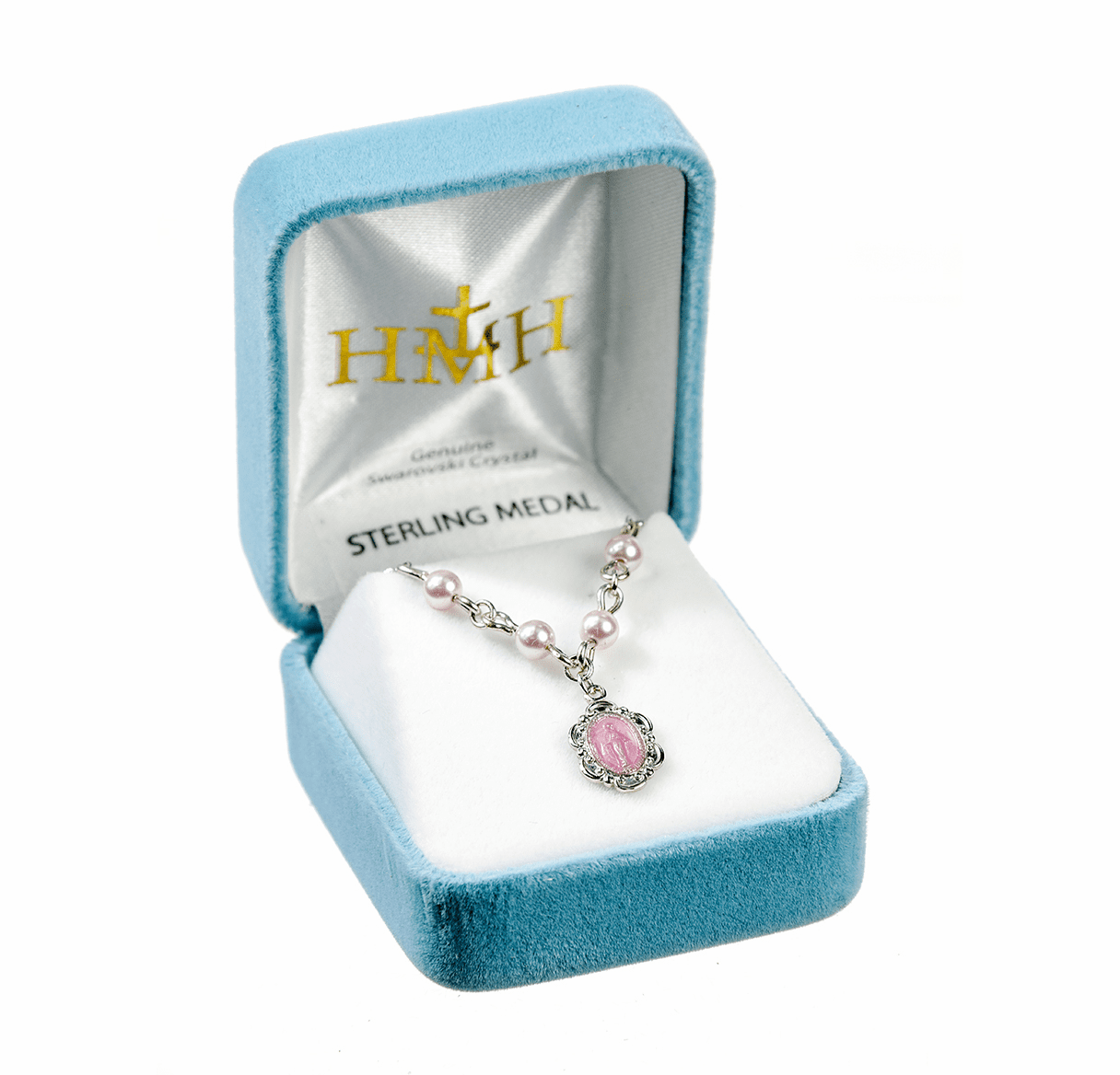 HMH Religious Miraculous Medal Pink Swarovski Pearl Necklace