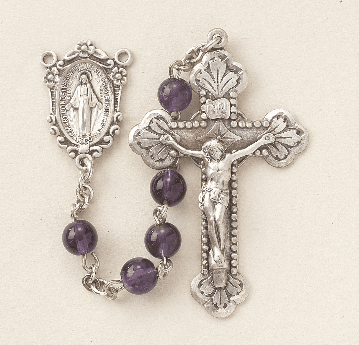 HMH Religious Miraculous Medal Sterling Silver 6mm Amethyst Catholic Prayer Rosary