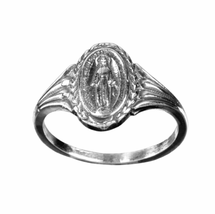 HMH Religious Miraculous Medal Sterling Silver Ring