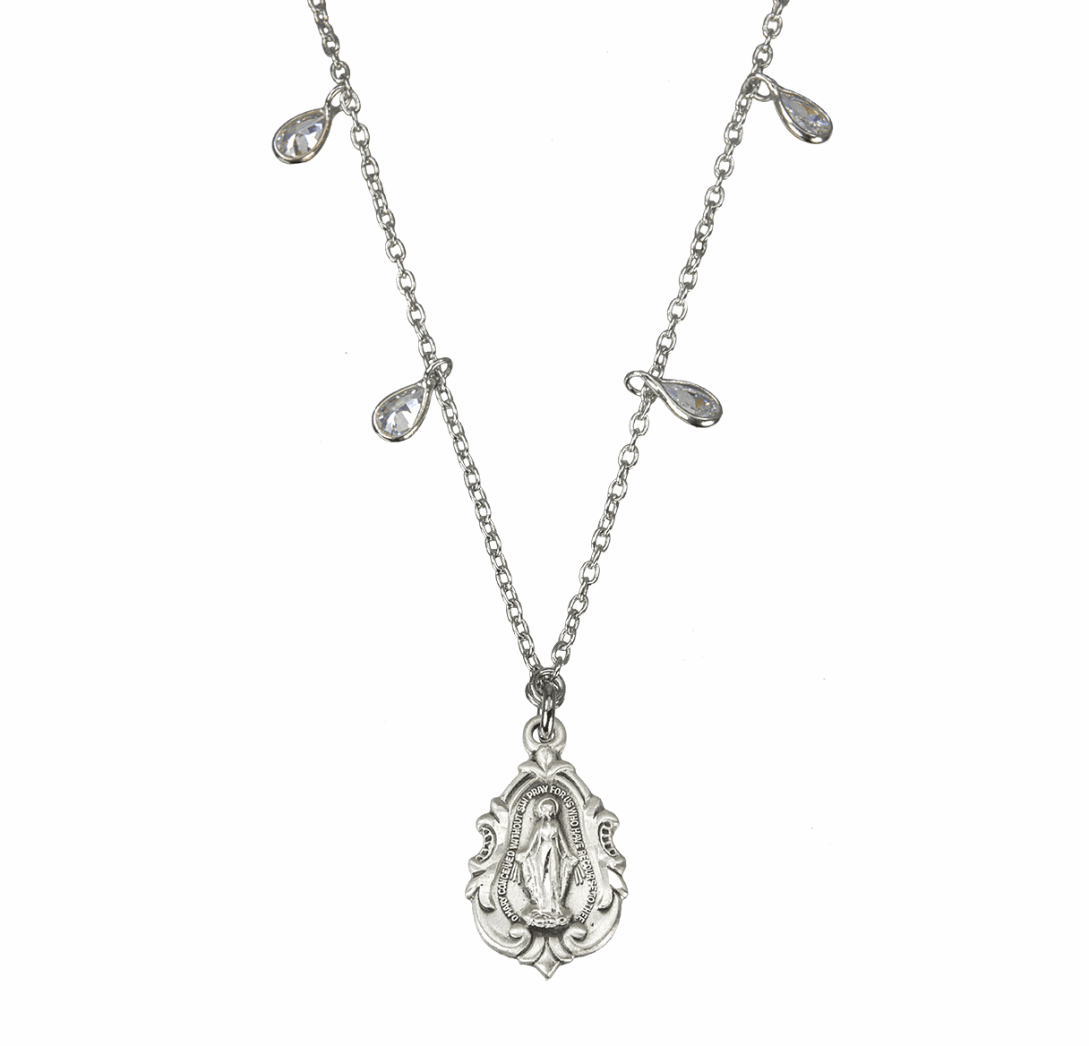 HMH Religious Miraculous Medal Teardrop Cubic Zirconia Sterling Silver Beaded Necklace