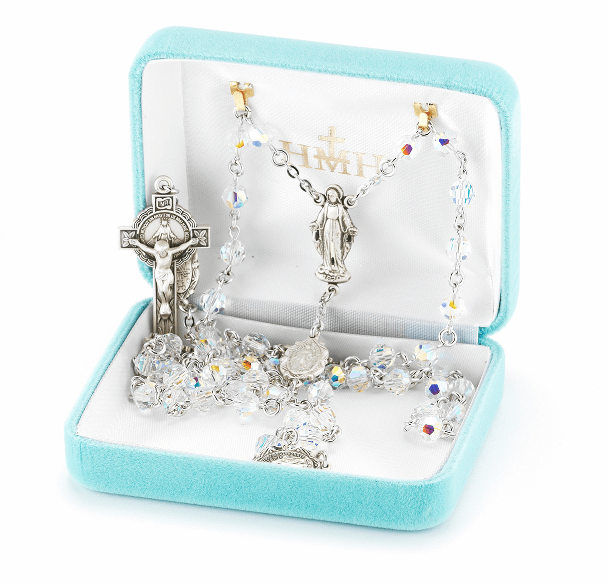 HMH Religious Miraculous Round Swarovski Crystal Sterling Silver Rosary
