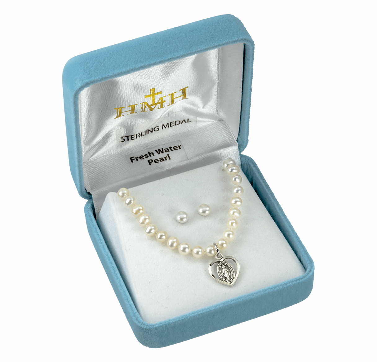 HMH Religious Miraculous Sterling Freshwater Pearls Earrings and Pendant Gift Set