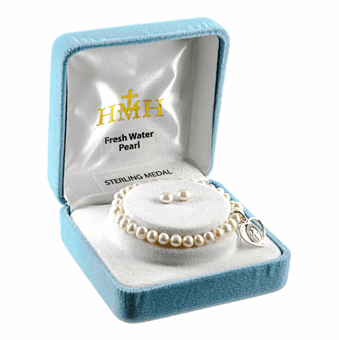 HMH Religious Miraculous Sterling Silver Freshwater Pearls Earrings and Bracelet Gift Set