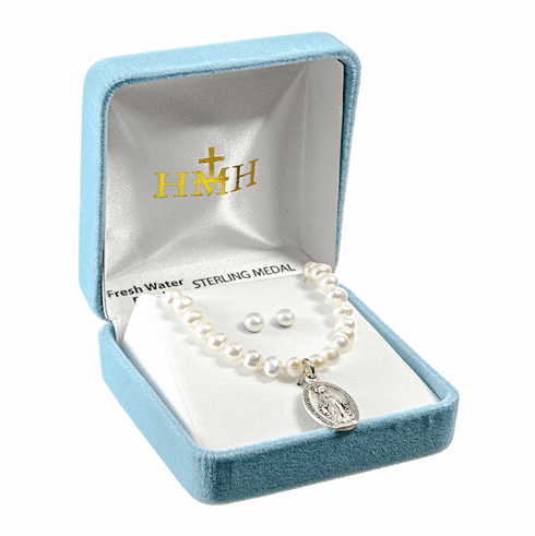 HMH Religious Miraculous Sterling Silver Freshwater Pearls Necklace and Earrings Gift Set