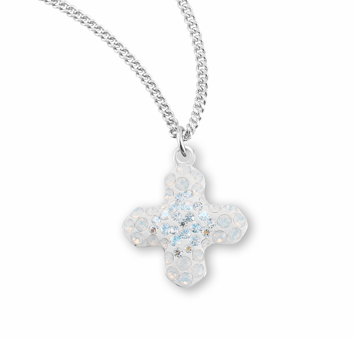 HMH Religious Moonlight and White Opal Greek Cross Necklace