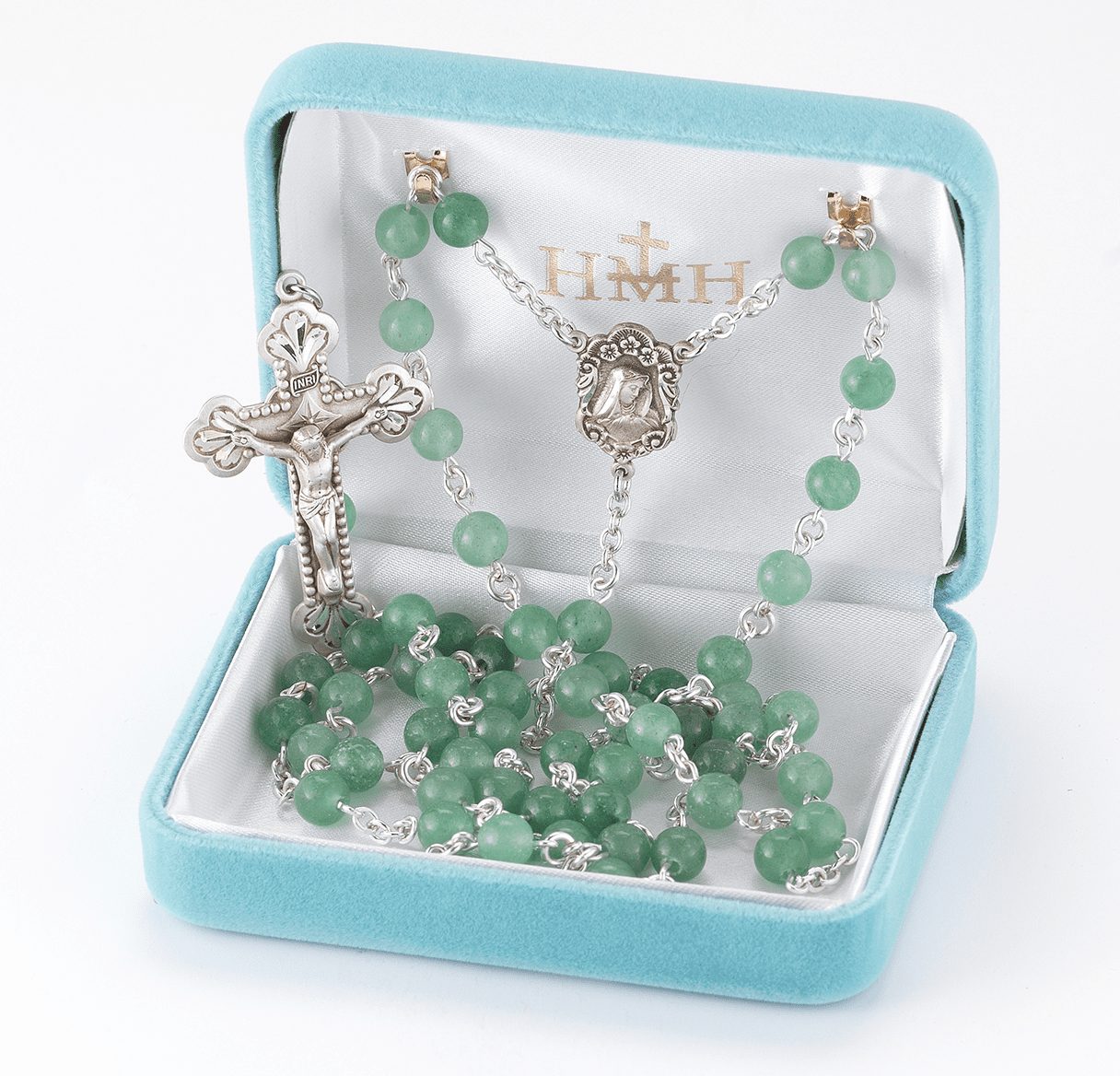 HMH Religious Mother of Sorrows Aventurine Gemstone Sterling Silver Rosary