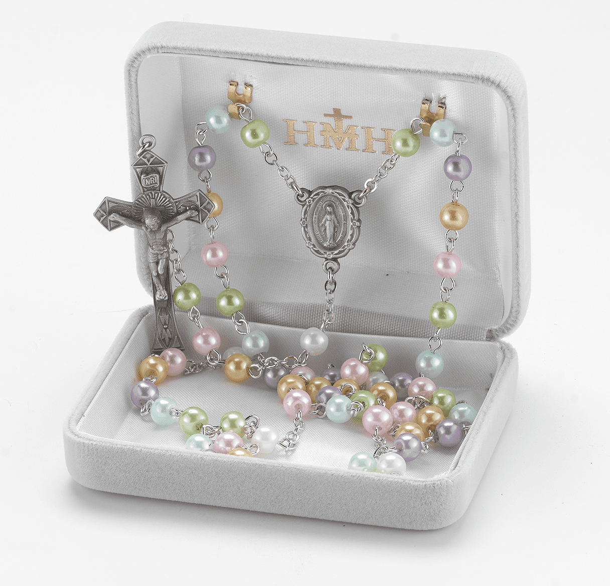 HMH Religious Miraculous Multi-Color Imitation Pearl New England Pewter Rosary