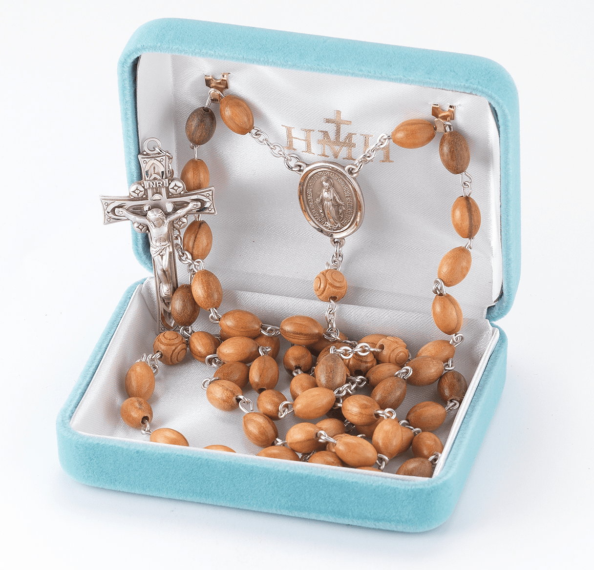 HMH Religious Natural Wood Oval Coco Beads with Carved Our Father Sterling Miraculous Rosary