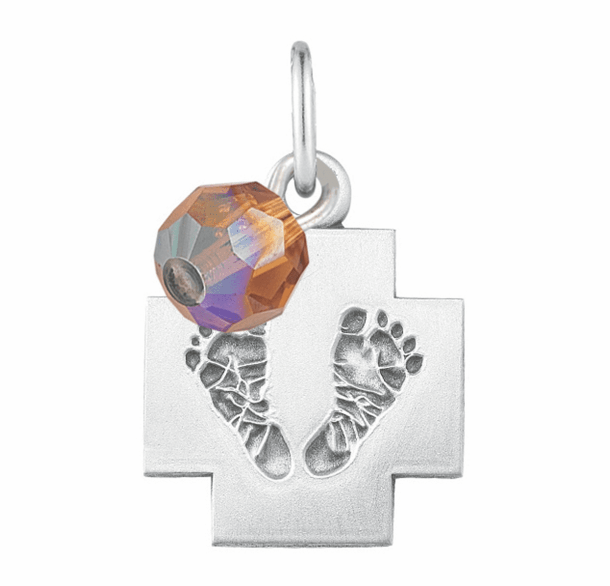 HMH Religious November Topaz Baby Foot Print Necklace