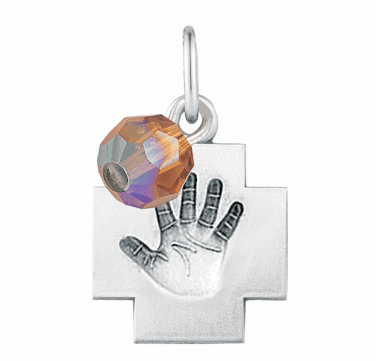 HMH Religious November Topaz Baby Hand Print Necklace