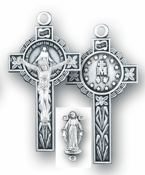 HMH Religious Our Lady of Grace Sterling Crucifix and Centerpiece Rosary Making Set