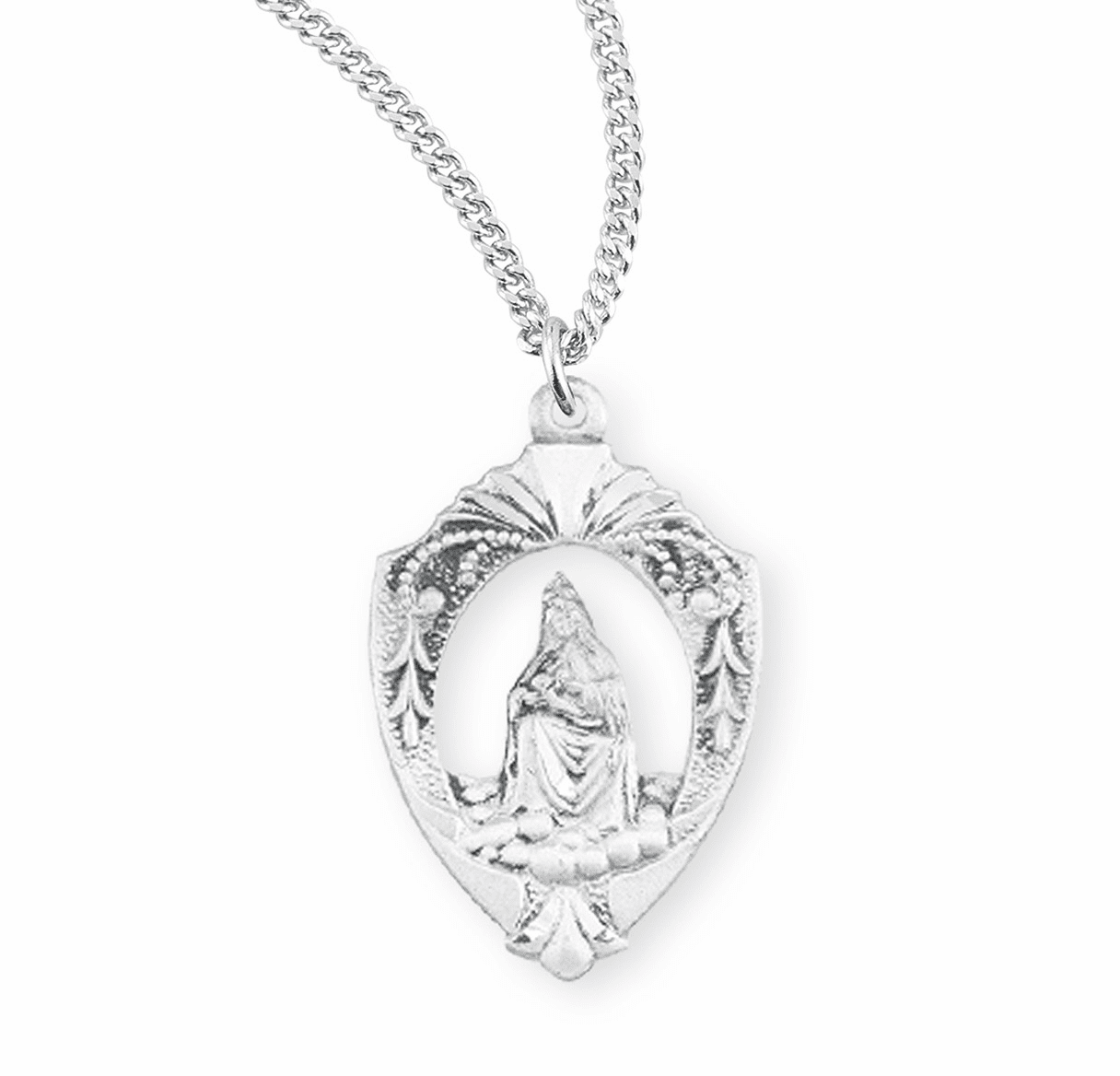 HMH Religious Our Lady of Laleche Spanish Sterling Silver Medal Necklace