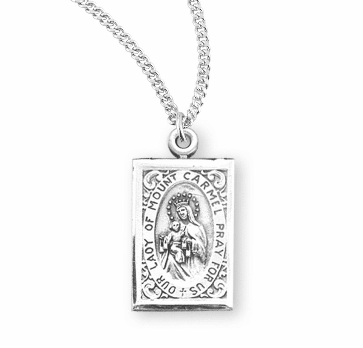 HMH Religious Our Lady of Mount Carmel Sterling Silver Scapular Medal Necklace