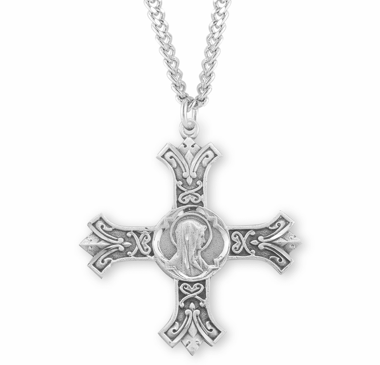 HMH Religious Our Lady of Sorrow Sterling Silver Cross Medal Necklace