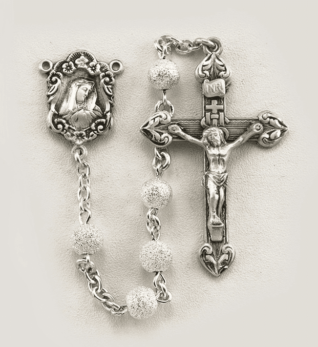 HMH Religious Our Lady of Sorrows Frosted Round Sterling Silver Bead Prayer Rosary