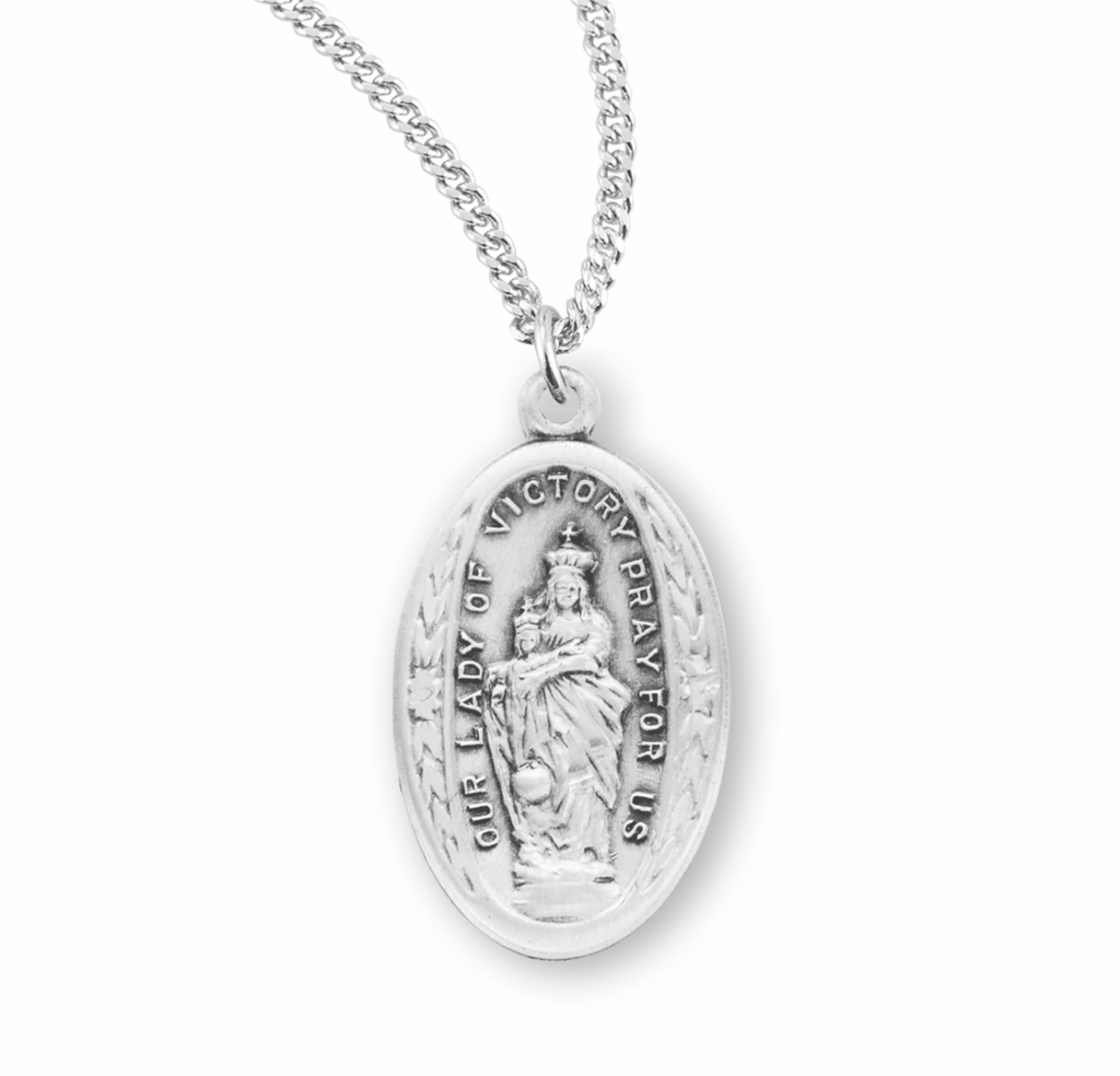 HMH Religious Our Lady of Victory Sterling Silver Medal Necklace w/Chain
