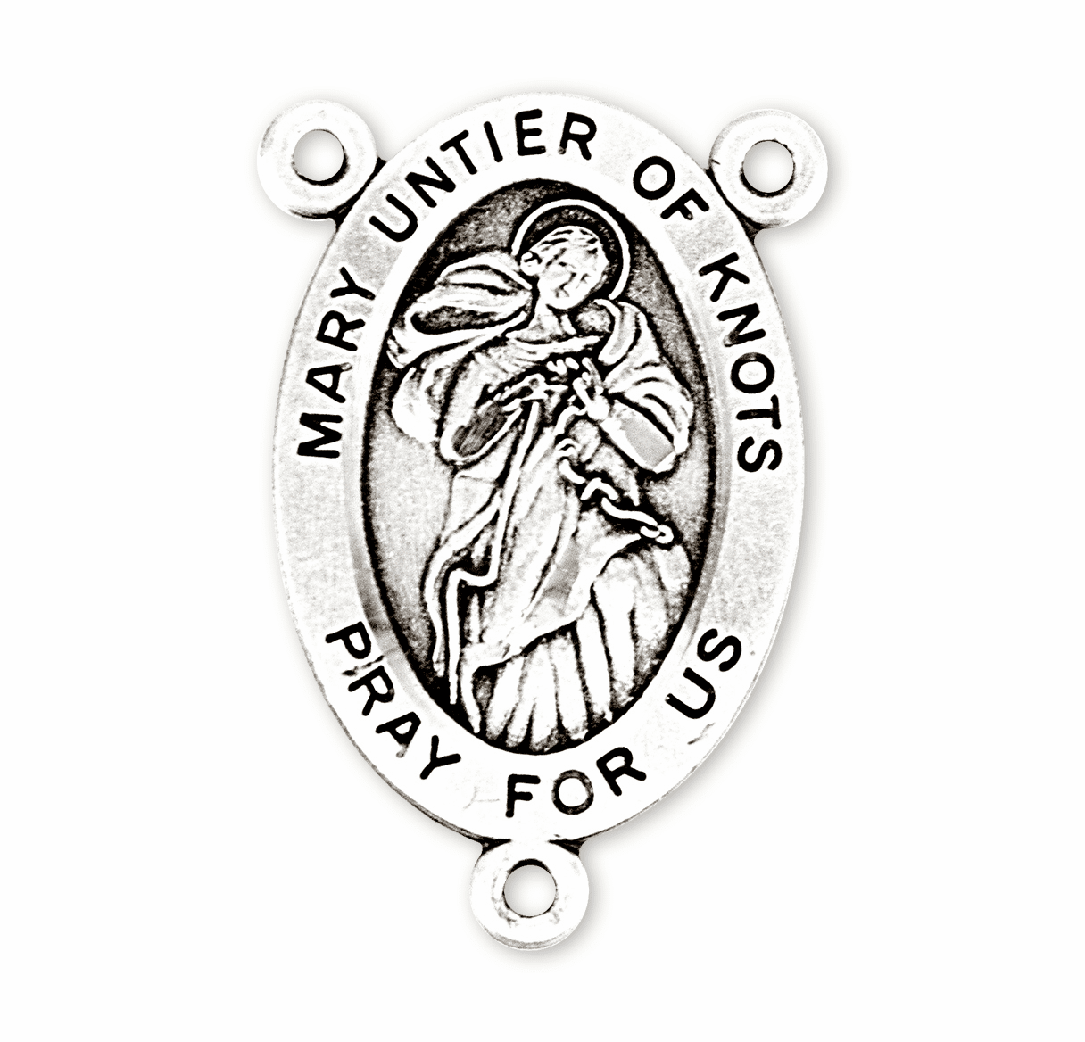 HMH Religious Oval Mary Untier Knots/Our Lady of Undoer of Knots Sterling Silver Rosary Center