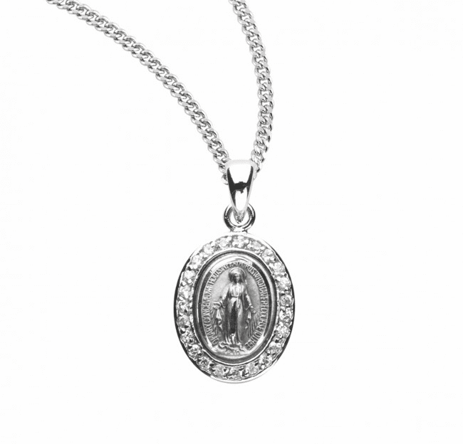HMH Religious Oval Miraculous Medal Crystal Sterling Pendant Necklace