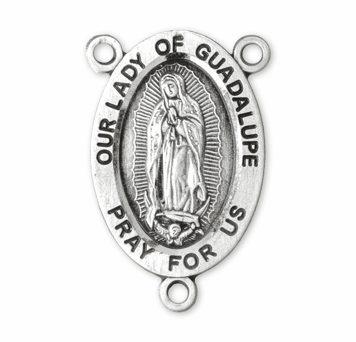 HMH Religious Oval Our Lady of Guadalupe Sterling Silver Rosary Center