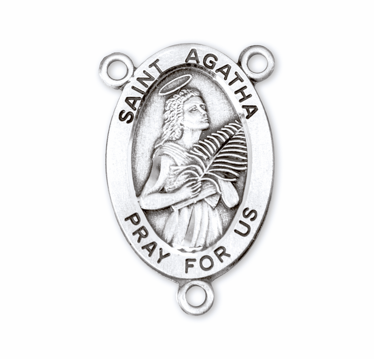HMH Religious Oval St Agatha Sterling Silver Rosary Center