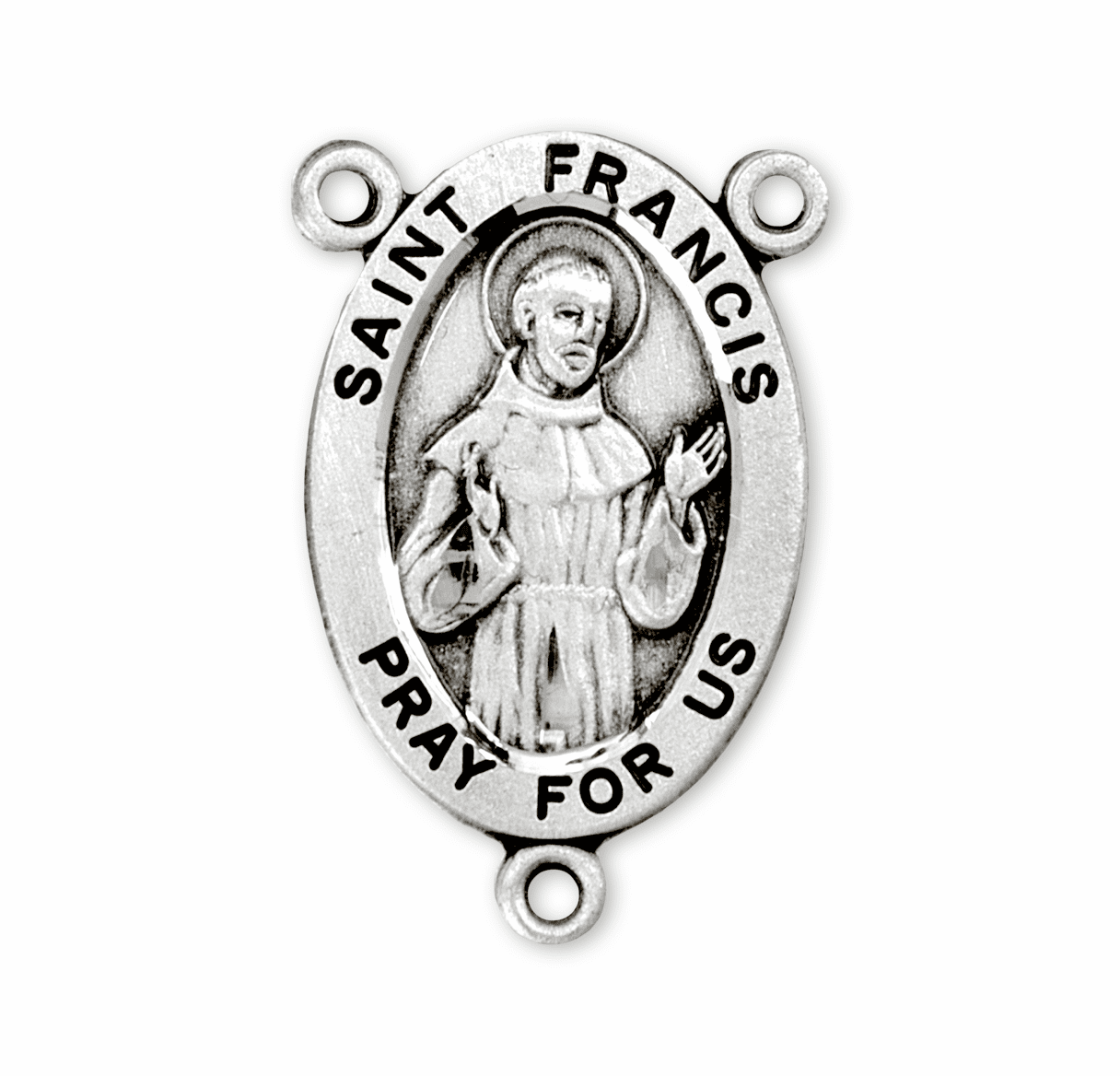 HMH Religious Oval St Francis of Assisi Sterling Silver Rosary Center