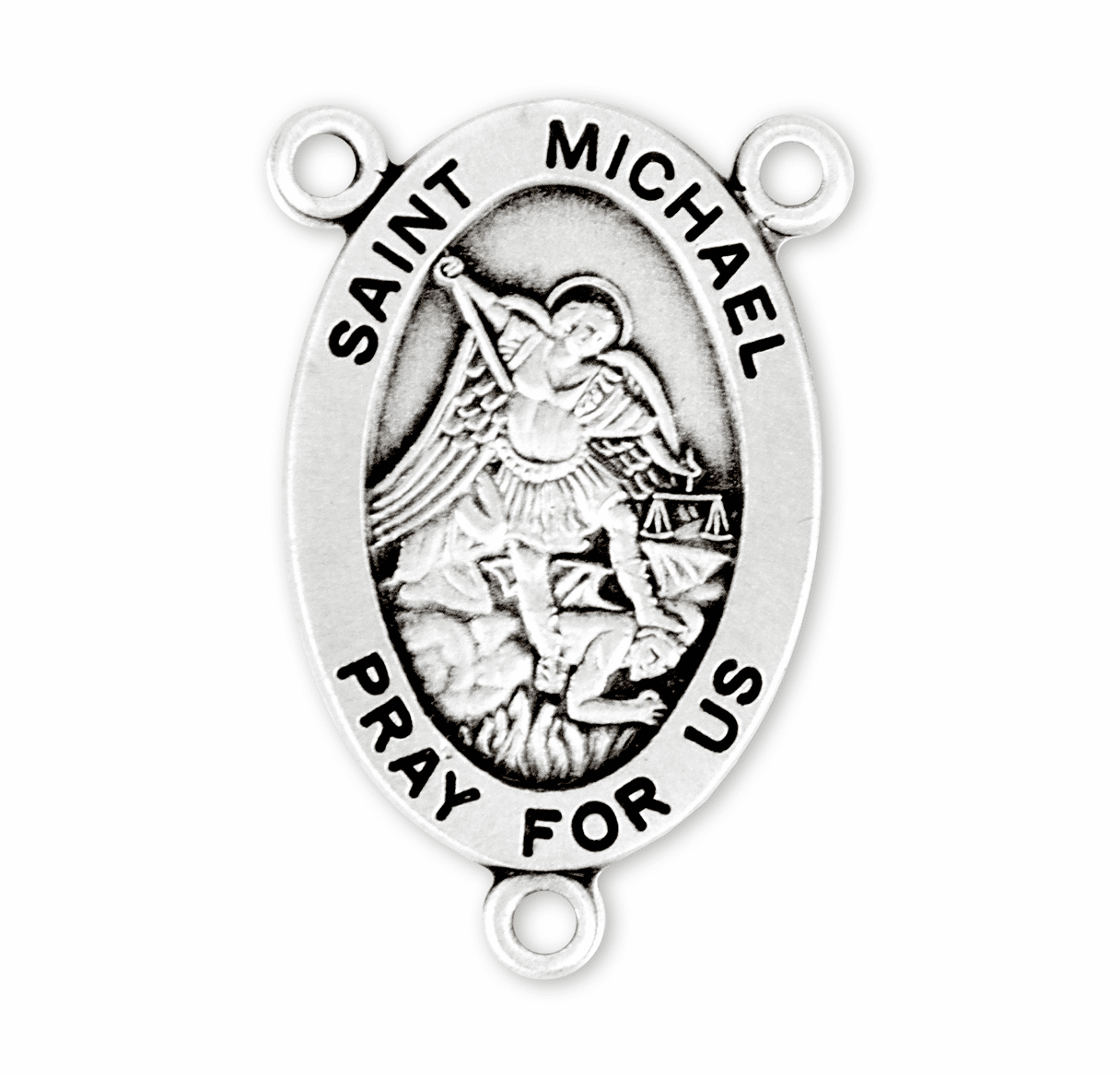 HMH Religious Oval St Michael the Archangel Sterling Silver Rosary Center