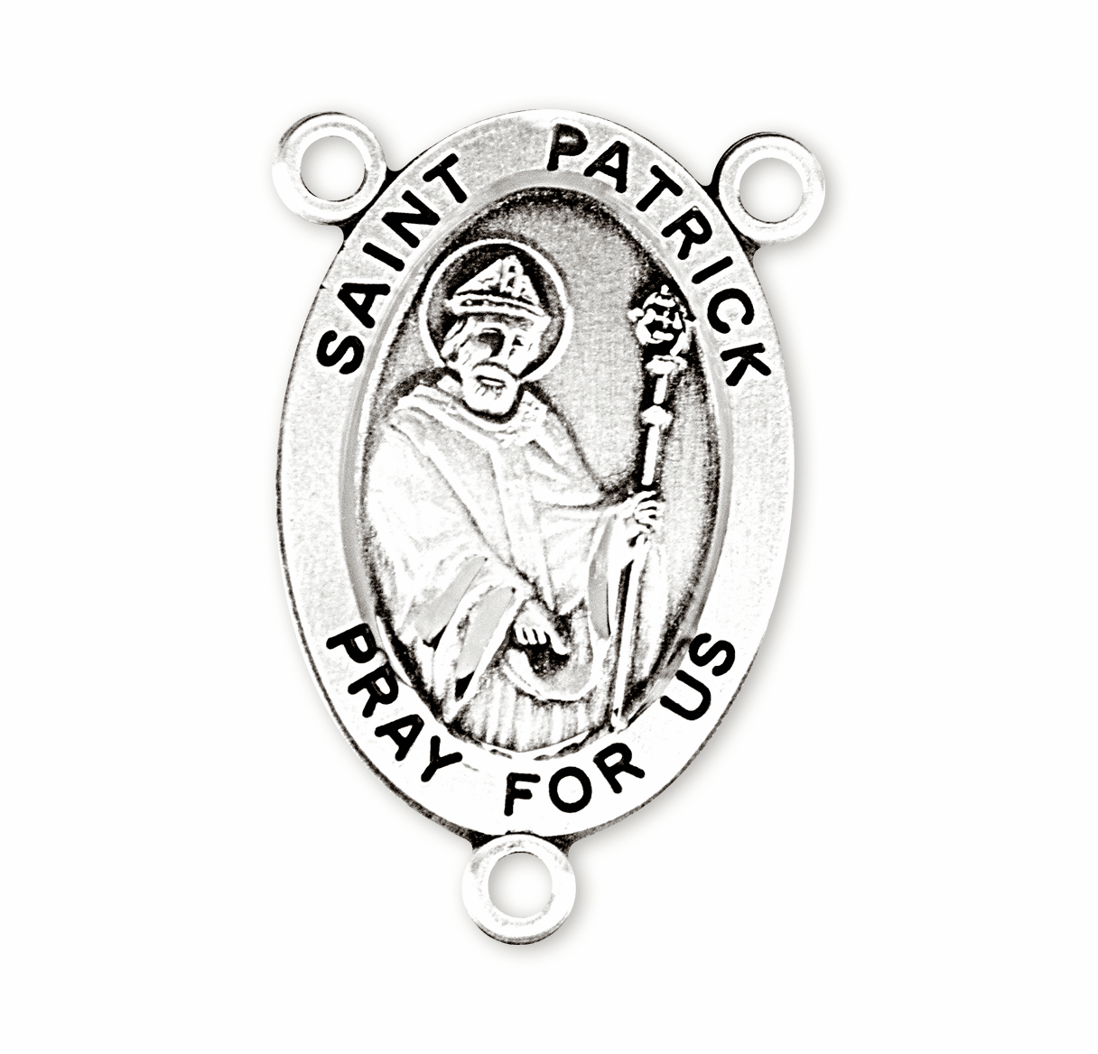 HMH Religious Oval St Patrick Sterling Silver Rosary Center