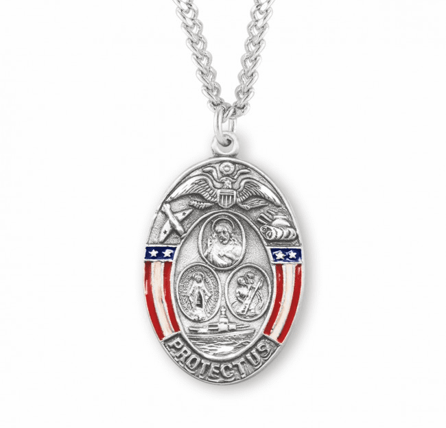 HMH Religious Oval Sterling Silver Military 3-Way Enameled Border Necklace