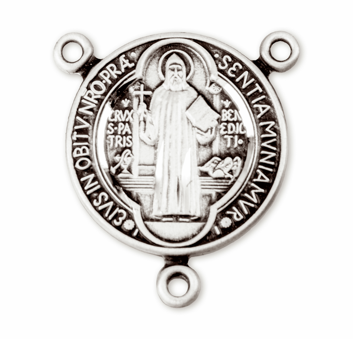 HMH Religious Patron Saint benedict Sterling Silver Rosary Center