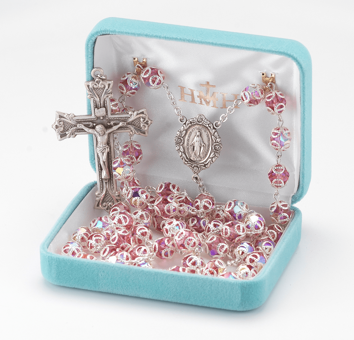 HMH Religious Pink Double Capped Swarovski Crystal Sterling Silver Rosary w/Baroque Crucifix