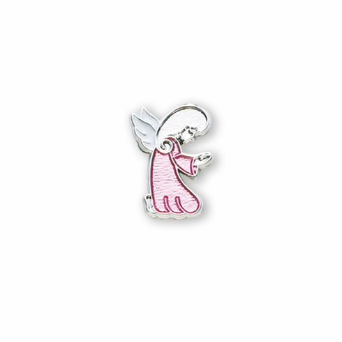 HMH Religious Pink Praying Girl Sterling Silver Lapel Pin w/Deluxe Screw