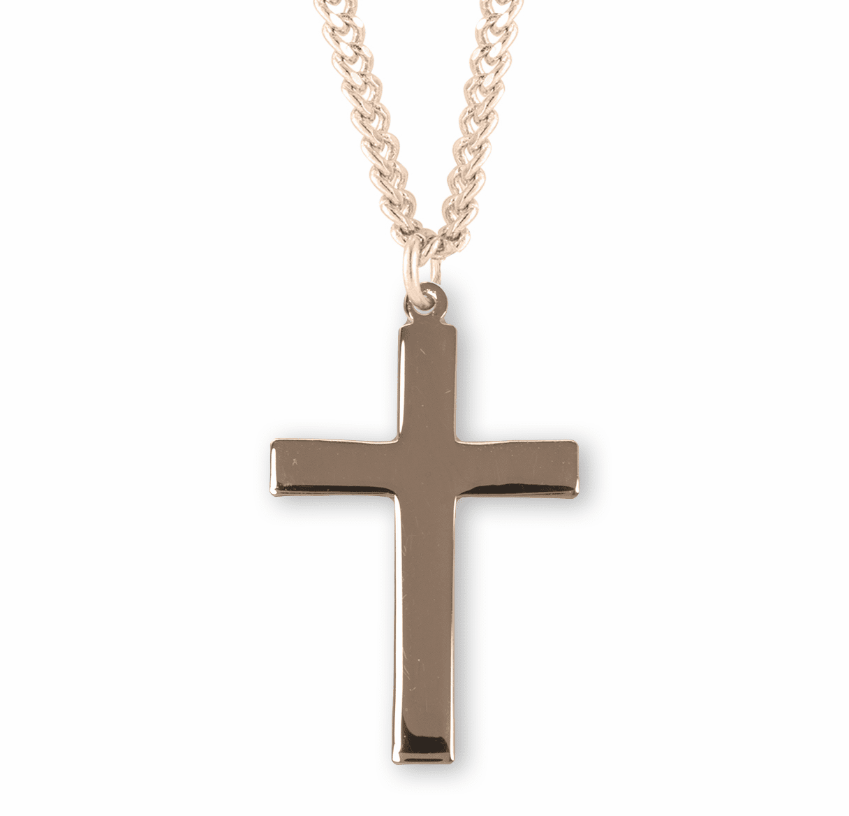 HMH Religious Plain Gold Over Sterling Silver Cross Necklace