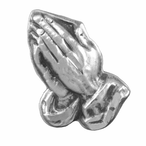 HMH Religious Praying Hands Sterling Silver Lapel Pin w/Deluxe Screw