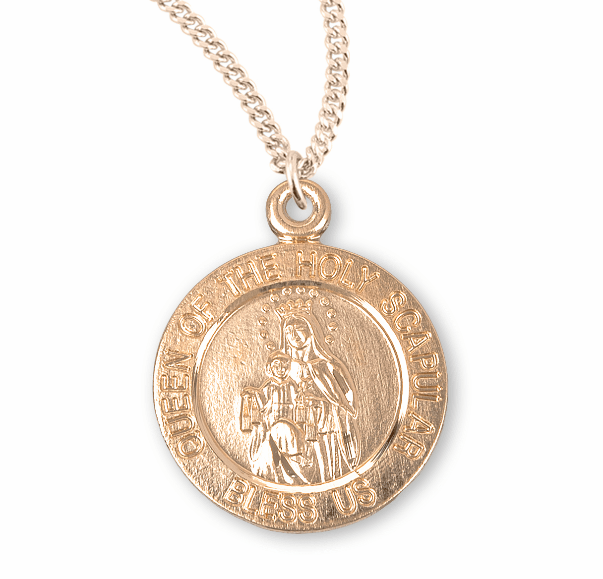 HMH Religious Queen of the Holy Scapular Round Gold/Sterling Silver Pendant Necklace