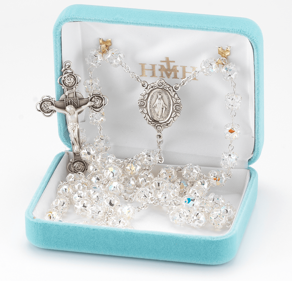 HMH Religious Rose Crucifix and Center Swarovski Crystal Sterling Silver Prayer Rosary