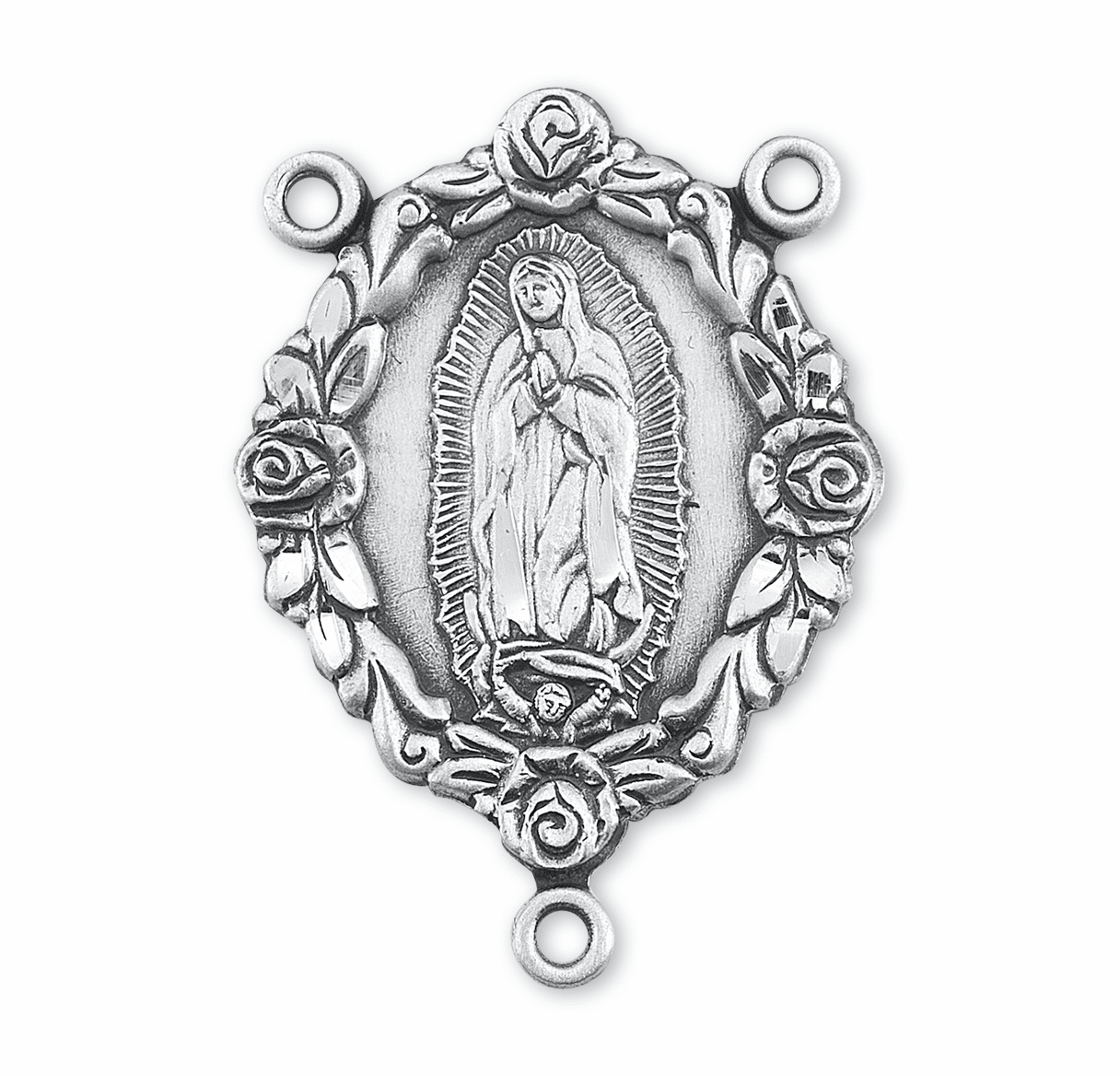 HMH Religious Rose Our Lady of Guadalupe Sterling Silver Rosary Center